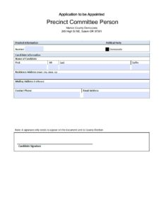 Application to be Appointed Precinct Committee Person